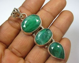 56 TCW MOZAMBIQUE  LARGE EMERALD SILVER PENDANT GG797