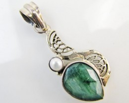37Cts  Emerald & pearl  set in silver Pendant  MJA 1219