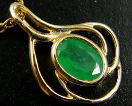 NATURAL EMERALD 14K YELLOW GOLD PENDANT  MYT 784
