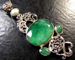 free shipping PEARL N MOZAMBIQUE  LARGE EMERALD SILVER PENDANT RT 185