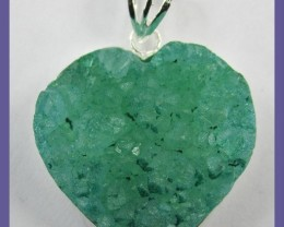 STERLING SILVER TREATED AGATE DRUZY PENDANT - GORGEOUS GREEN