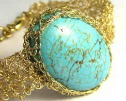 79CTS  TURQUOISE BRACELET GOLD PLATED COPPER WIRE  MGMG 302