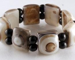 Fine  Agate Bracelet 19 cm Evil Eye JB-3