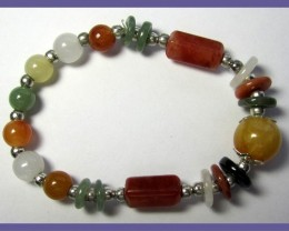 STYLISH MIXED SHAPE & COLORED AGATE BRACELET