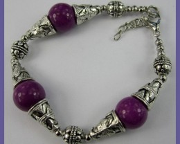 SILVERPLATE & PURPLE AGATE BEAD BRACELET - LOVELY