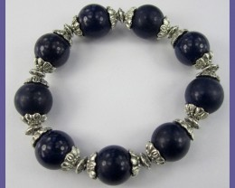 LOVELY DARK BLUE AGATE & SILVERPLATE BRACELET/BANGLE