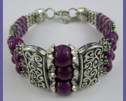 VERY ATTRACTIVE AGATE & SILVERPLATE 3-ROW BRACELET/BANGLE