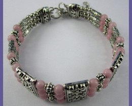 VERY PRETTY AGATE & SILVERPLATE BRACELET/BANGLE