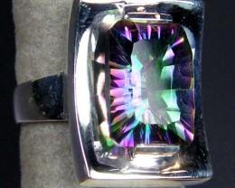 RAINBOW MYSTIC GEMSTONE SILVER RING SIZE 10 GTJA702