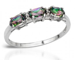 DIAMOND/MYSTIC TOPAZ 10K WHITE GOLD RING SZ 7