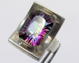 Mystic Quartz  set in Silver Ring  size  11  MJA 684