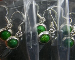 TRADE DEAL 3 GREEN TURQUOISE  SILVER EARRINGS  MYT 271