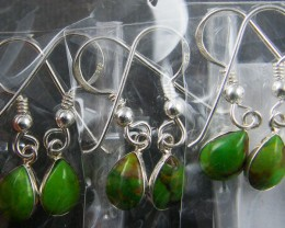 TRADE DEAL 3 GREEN TURQUOISE   SILVER EARRINGS  MYT 308