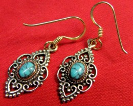 DYED HOWLITE BRONZE EARRINGS RT 332