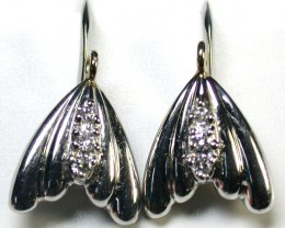 GENUINE BRILLIANT CUT DIAMONDS PLATINUM EARRINGS R1789