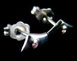 ARGYLE PINK  DIAMOND  18K WHITE GOLD EARRINGS  OP 1434