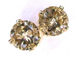 CHAMPANGE DIAMONDS EARRINGS 0.60 CTS 14K SOLID GOLD -SD-34