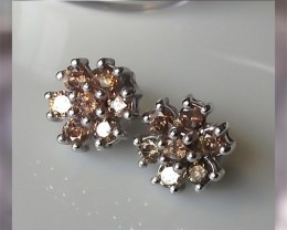 One CTW Cognac Diamond Earrings ~ Elegant Beauty
