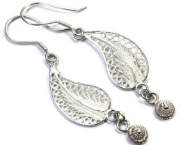 UNIQUE FILIGREE SILVER EARRINGS 14.95 CTS [SJ1302]