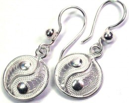 UNIQUE FILIGREE SILVER EARRINGS 12.40 CTS [SJ1303]
