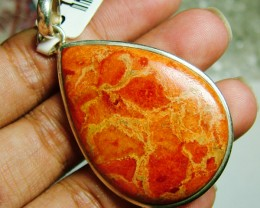 BEAUTIFUL CORAL PENDANT IN STERLING SILVER 70CTS SG-266