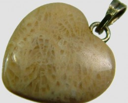 CORAL FOSSIL HEART PENDANT 6.9 CTS [SJ2807]