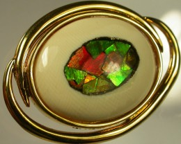 AMMOLITE WITH FOSSIL  MAMMOTH IVORY -TIE 75  CTS [SJ878 ]