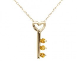 HEART NECKLACE WITH CITRINES CRAFTED 10K YELLOW GOLD