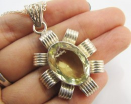 65 Cts Bright Citrine set in silver Pendant   MJA 955