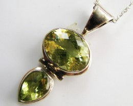 49 Cts Dual  Gem  Citrine set in silver Pendant   MJA 956