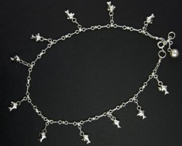 DOLPHIN CHARM ANKLET SILVER 925 CHAIN  27CM  CMT 183a