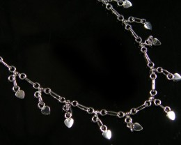 LOVE HEART CHARM SILVER ANKLET 925  CMT 196
