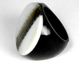 PEARL SHELL INTARSIA RING SIZE  8.5  AAT 1692