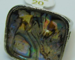 PAUA SHELL ELECTRO PLATED  SILVER RING SIZE 20