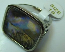 PAUA SHELL ELECTRO PLATED  SILVER RING SIZE 18