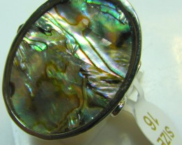 PAUA SHELL ELECTRO PLATED  SILVER RING SIZE 16