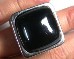 UNIQUE DRESS SQUARE BLACK AGATE  RING SIZE 5    RN  474