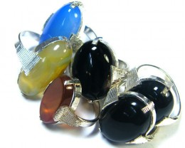 PARCEL 6 PCS NATURAL AGATE RINGS  TR 341