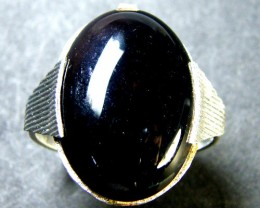 JET BLACK AGATE  RING SIZE  8   TR 405