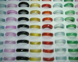 AAA+ 100 Plain & Faceted Agate Rings DT4