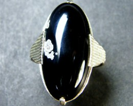 JET BLACK AGATE  RING SIZE 7.5 WITH NAT INCLUSIONS    TR 408