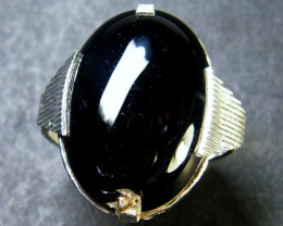 JET BLACK AGATE  RING SIZE 6.5    TR 400