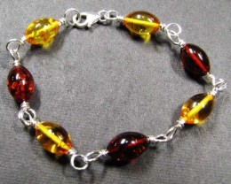 BALTIC BEAD  AMBER SILVER   BRACLET  32 TCW    MYG 708