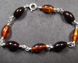 BALTIC BEAD  AMBER SILVER   BRACLET 23  TCW    MYG 710