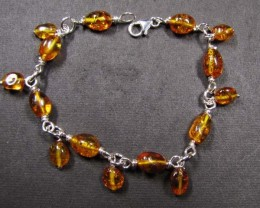 BALTIC BEAD    AMBER SILVER   BRACLET  43 TCW    MYG 741