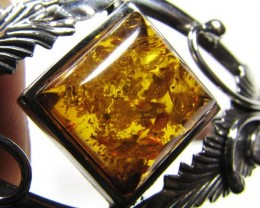 TOP LARGE BALTIC AMBER SILVER   BRACLET 99.6 TCW    MYG 686