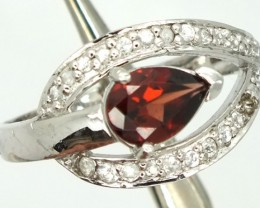 GARNET  SILVER RING  14.2 CTS  SIZE- 6.5   RJ-250