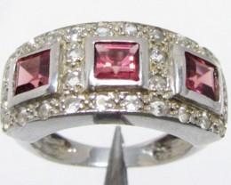 Garnet set in Silver ring size 6  MJA 811
