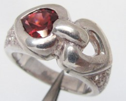 Heart Garnet set in Silver ring size 9.5  MJA 813