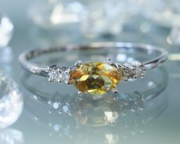 CITRINE , DIAMONDS  14 K  FIGERINE RING SIZE 7.5  MY 908